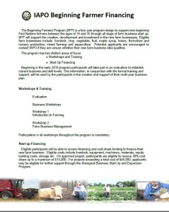 IAPO Beginning Farmer Financing page 1